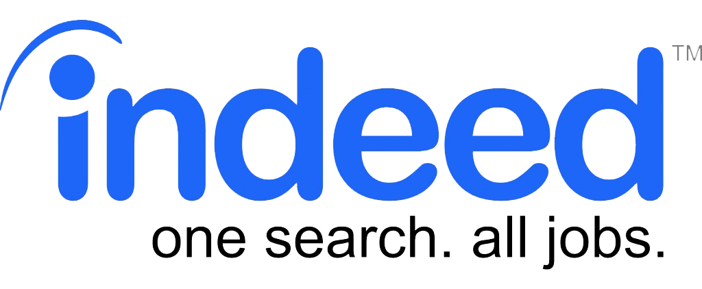 Indeed logo in blue font and with text that reads: 'one search. all jobs.'