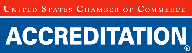 United States Chamber of Commerce Accreditation logo with a red and blue background.